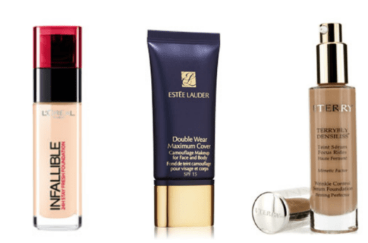 L'Oreal Infallible Foundation $39.95 | Estee Lauder Double Wear Camouflage $50 | By Terry Densiliss $150