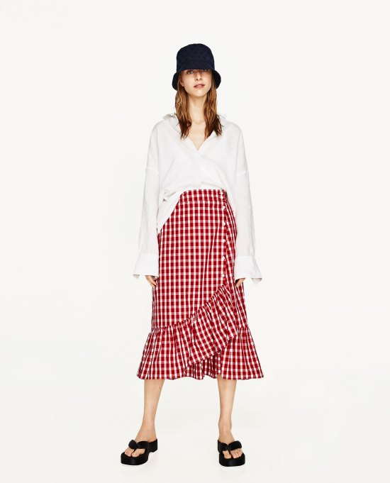 Zara Red Gingham skirt
