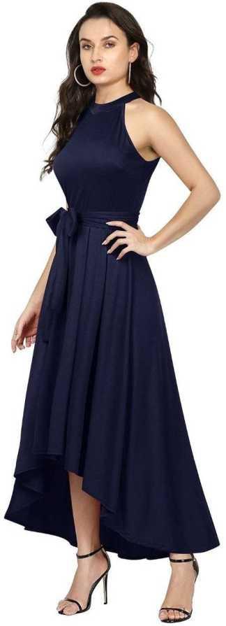 Women Drop Waist Blue Dress 3