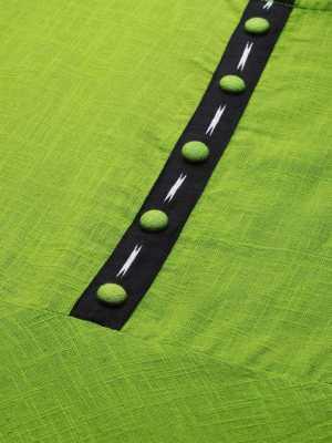 Women Green Printed Cotton Blend Anarkali Kurta 2