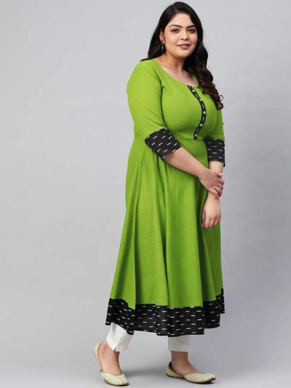 Women Green Printed Cotton Blend Anarkali Kurta 3