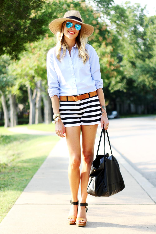 blue oxford shirt, black & white stripe shorts