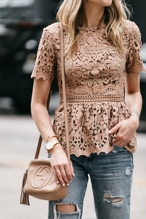 Beige Lace Peplum Top