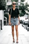 Black Ripped Jean Outfits with Skirts