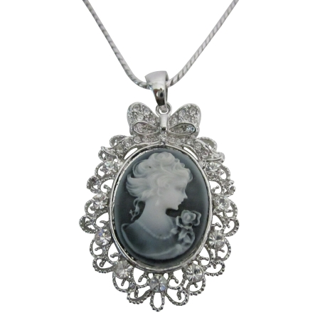 Victorian Cameo Lady Pendant Necklace Sparkling Silver