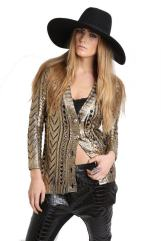 DIGS COUTURE Gold Wax Cardigan