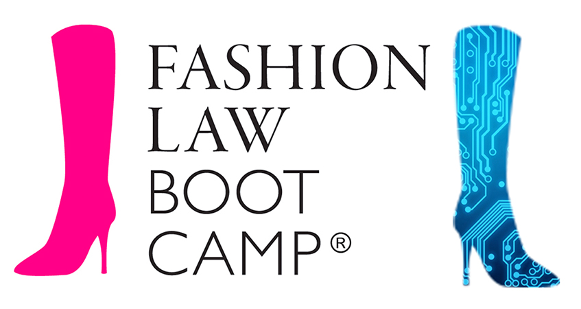 Fashion Law Bootcamp - pink boot and blue circuit board boot