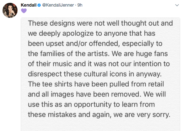 Kendall Jenner apologies for controversial music t-shirts