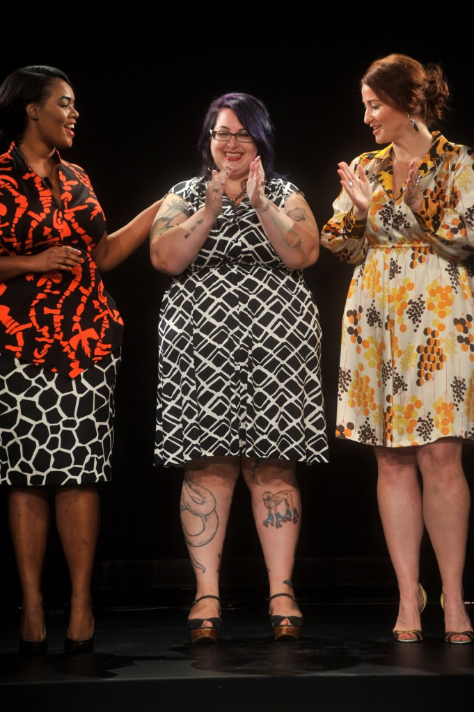 Eden Miller and models at the first plus-size fashion show in the official IMG tents at NYFW