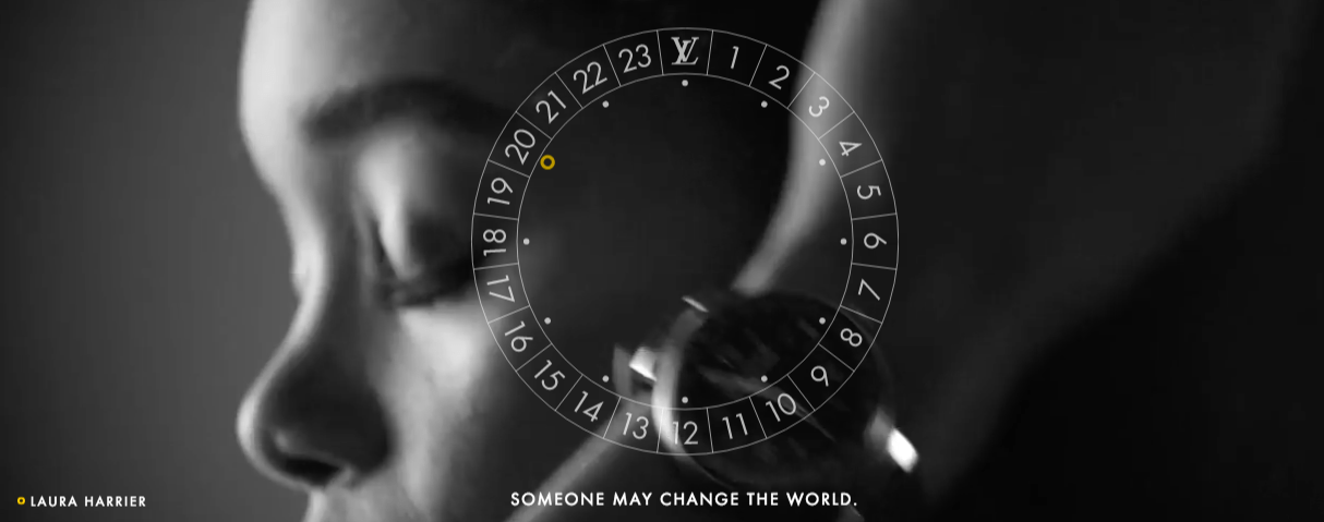 "Vuitton smartwatch modeled by Laura Harrier with caption, ""Someone may change the world"""