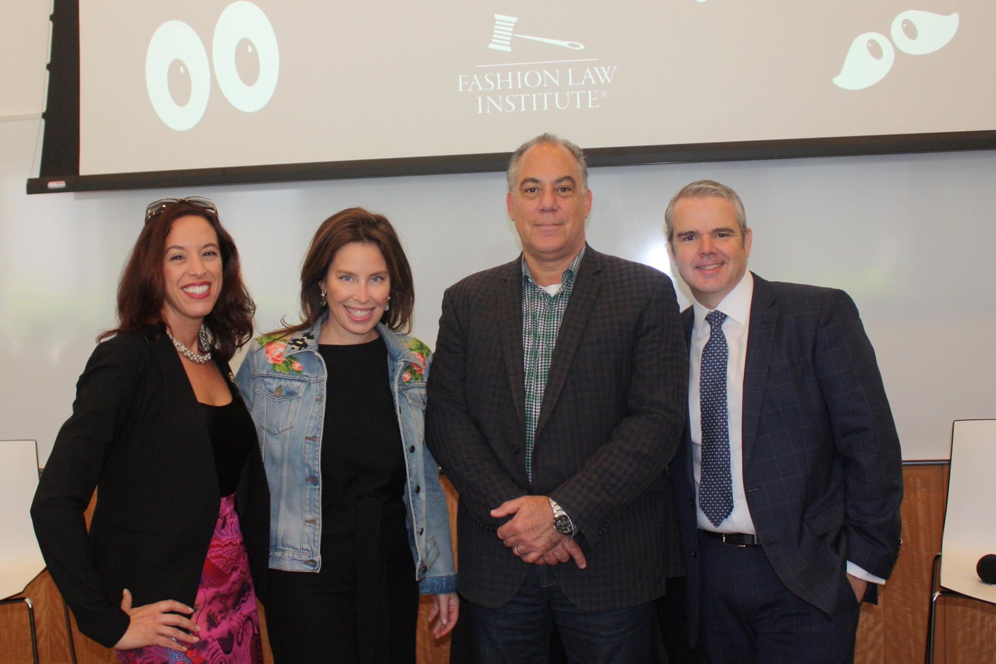 Professor Susan Scafidi, Nicole Marra (Vice President, General Counsel, Corporate Affairs), James Donoian (Partner, McCarter & English) , and John Maltbie (Director of Intellectual Property, Civil Enforcement Louis Vuitton Americas)