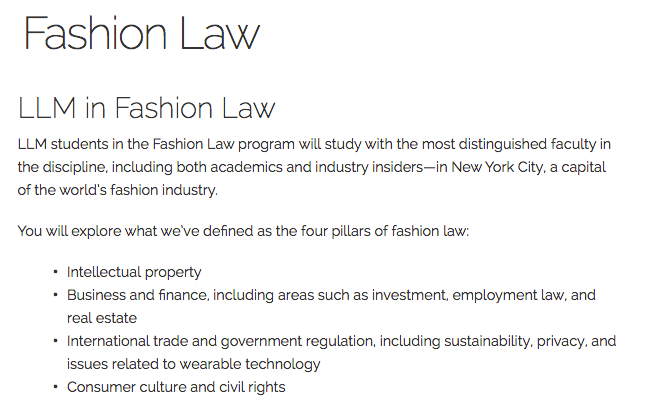Fordham Fashion Law LLM program page