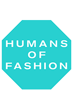Hexagon with Humans of Fashion on light blue background