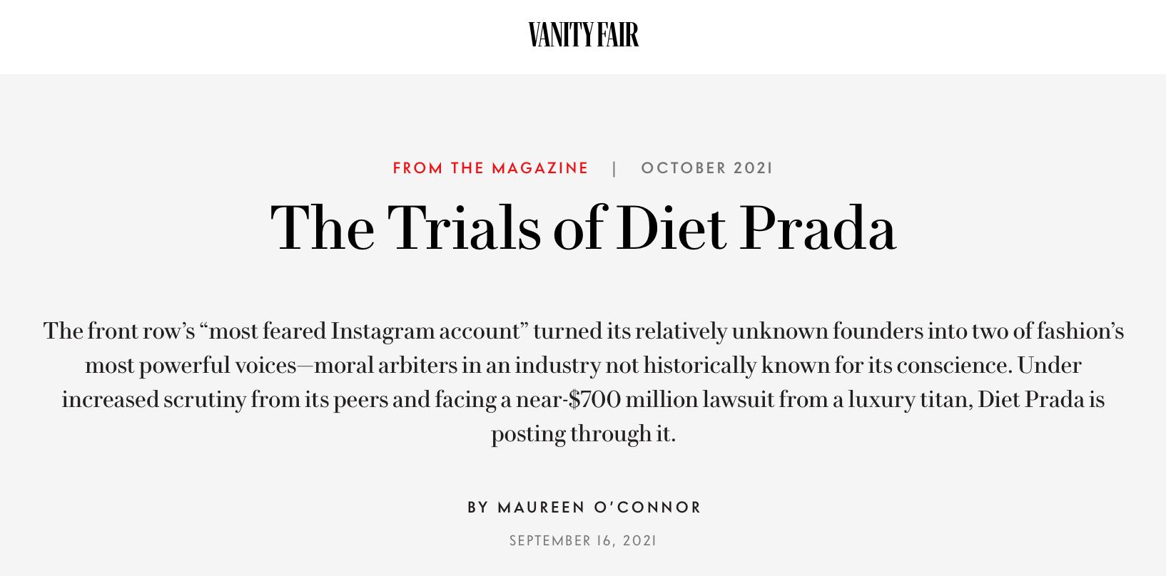 Vanity Fair article, The Trials of Diet Prada