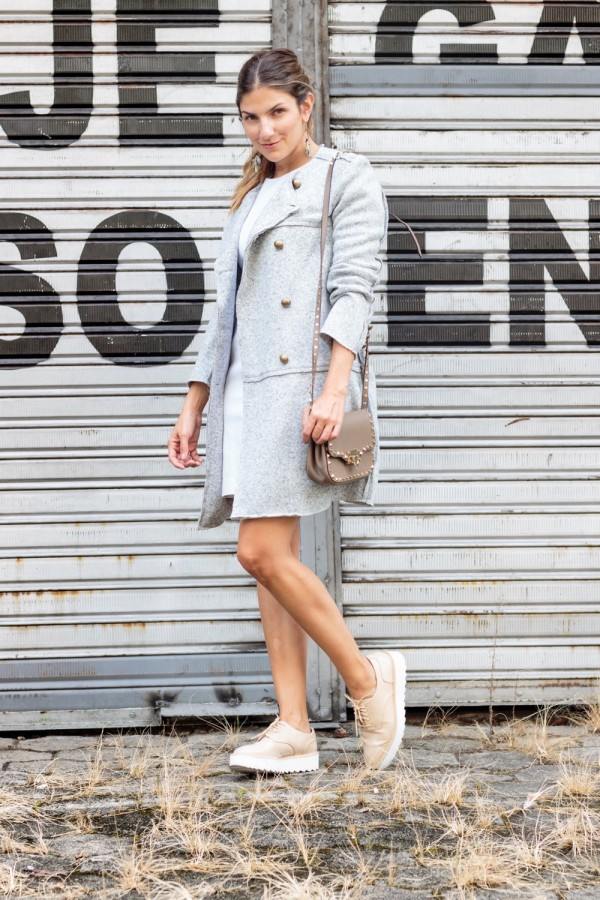 gray coat white dress