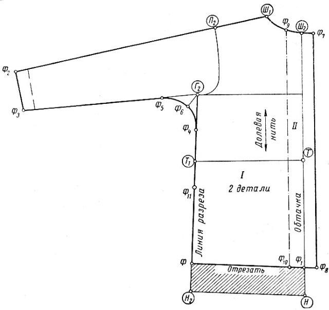 Рис. 44. Нанесение линий фасона на выкройку (перед рубашки)