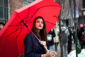 red umbrella new york fashion week street style Feburary 2013 angels point of view