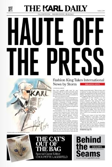 カール・ラガーフェルドの新聞「THE KARL DAILY」発行、愛猫シュペットがエディターに&