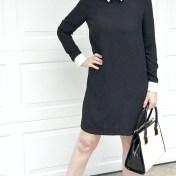 victoria beckham black collar dress