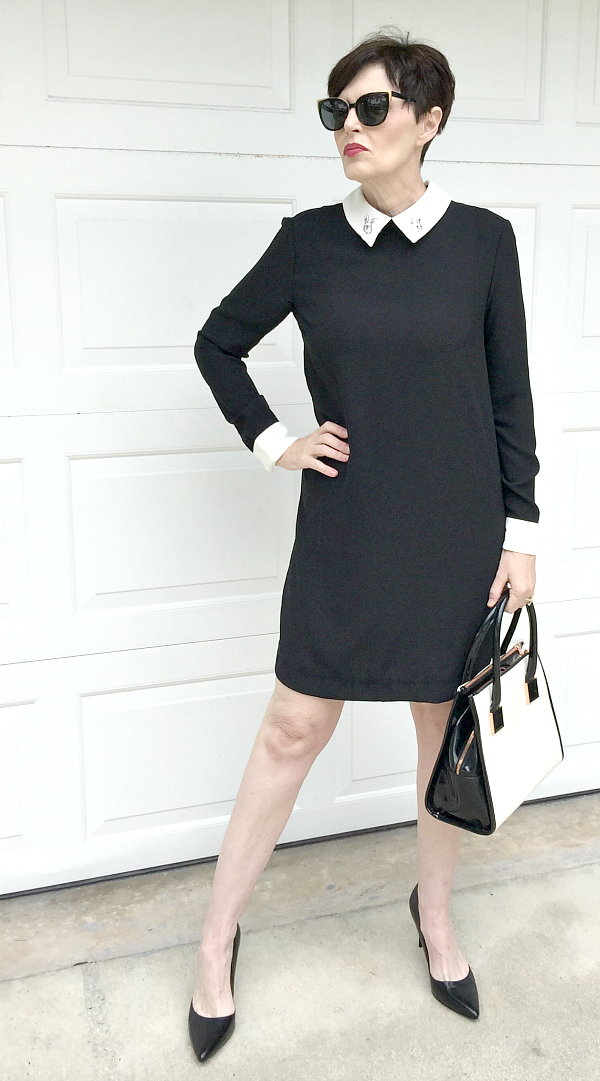 victoria beckham black collar dress
