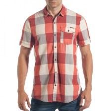 Ανδρικό κόκκινο κοντομάνικο πουκάμισο CROPP