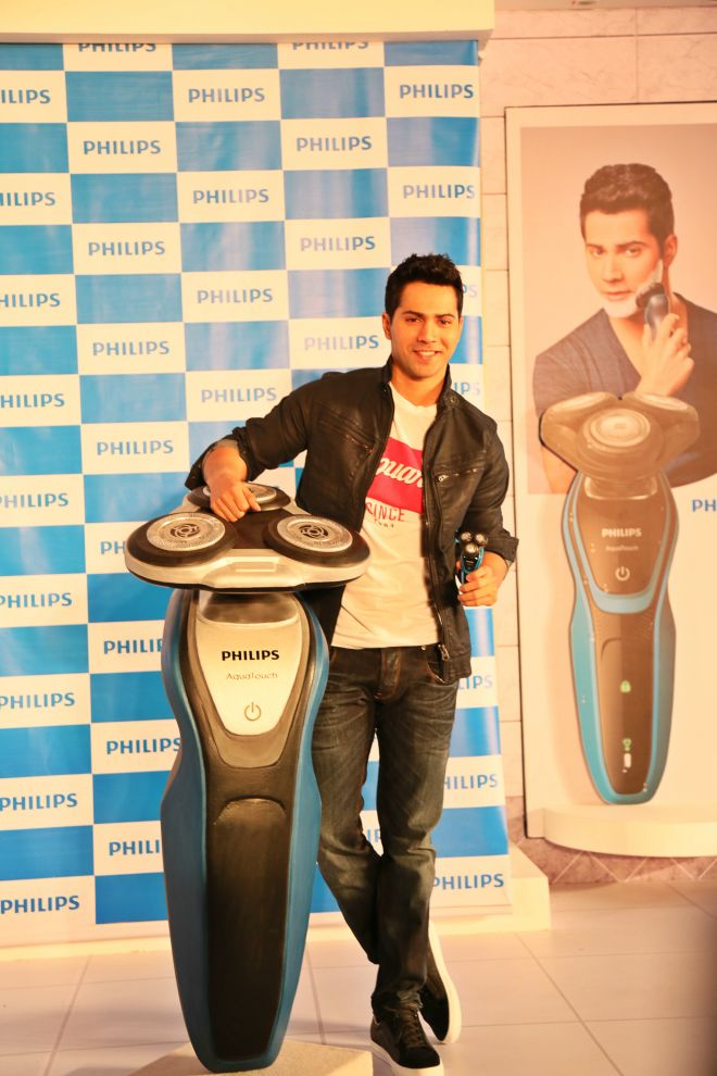Actor and Brand Ambassador for Philips India's Shaving category Varun Dhawan