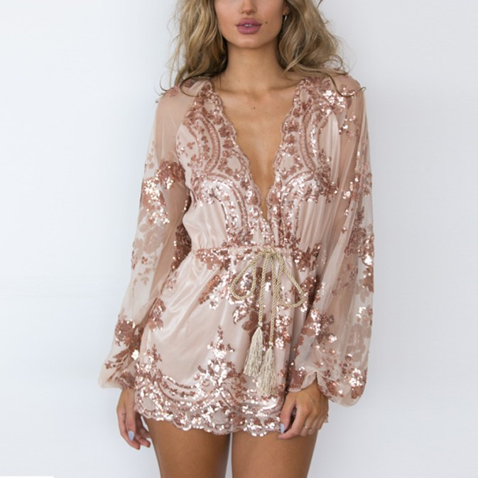 What A Doll Sequin Playsuit