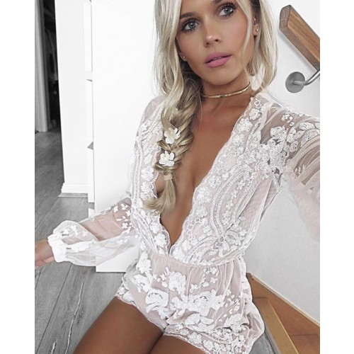 Isla Sheer White Sequin Playsuit