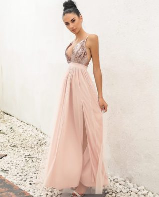 Elegant Encounter Sequin Maxi Dress Apparel
