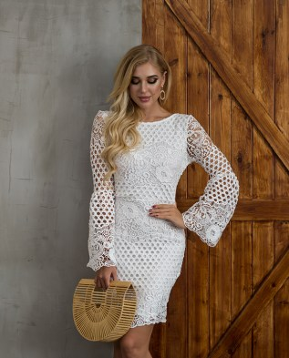 Bethany Bell Sleeve Crochet Dress Apparel