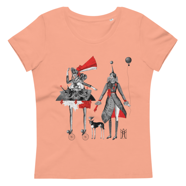 100% organic cotton T-shirt in rose clay with Carnival print