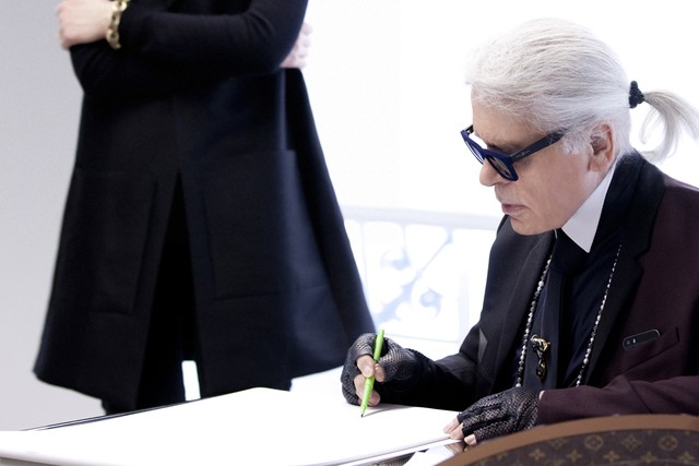Karl Lagerfeld designing for Louis Vuitton