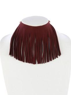 burgundy fringe choker blue labels boutique