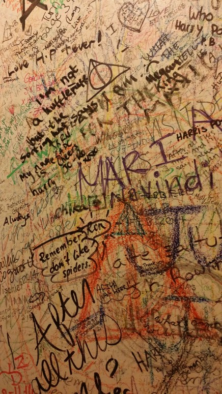 The Harry Potter themed graffiti in the restroom at the Elephant House. One of the many cafes J. K. Rowling frequented while she wrote Harry Potter. I cried when I saw it.