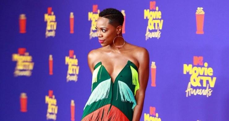Yvonne Orji's Mimi Plange Rainbow Dress At The 2021 MTV Movie and TV Awards
