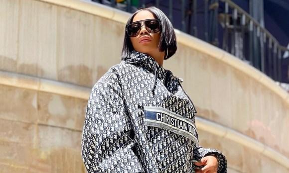 Toke Makinwa Wearing Dior Hooded Shirt Dress