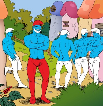 Tom Of Finland Smurfs Illustration by Alessio Slonimisky