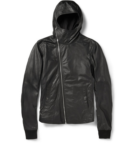 Rick Owens Slim Fit Leather Hooded Jacket