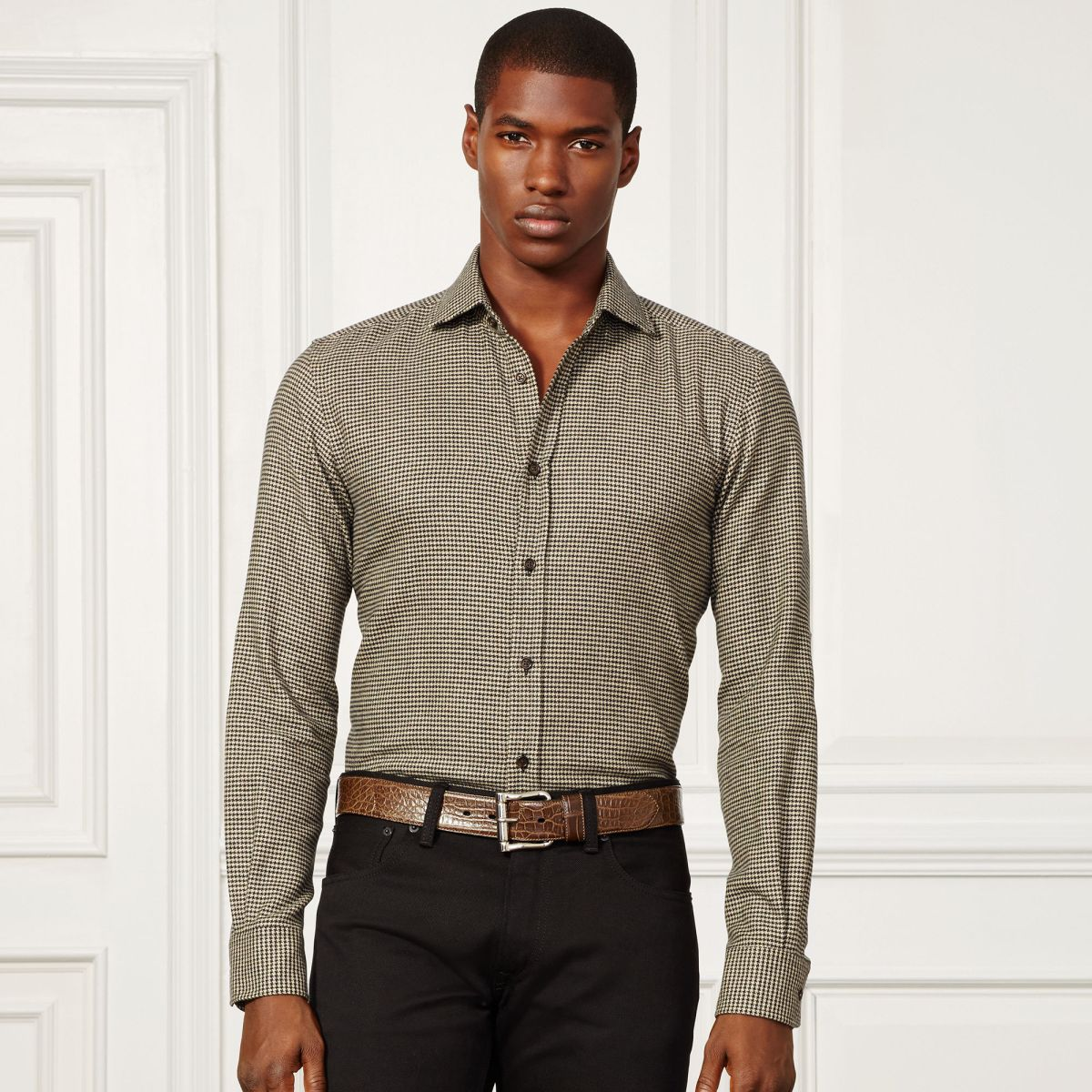 Aston Suede Trim Cotton Shirt