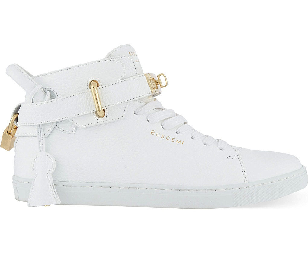 Buscemi 100mm Padlock White Mid Top Sneakers