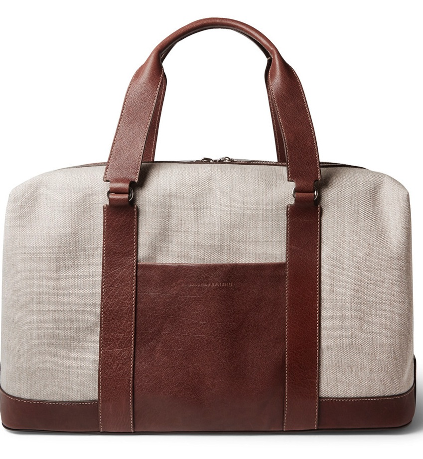 Brunello Cucinelli Textured Leather And Canvas Holdall