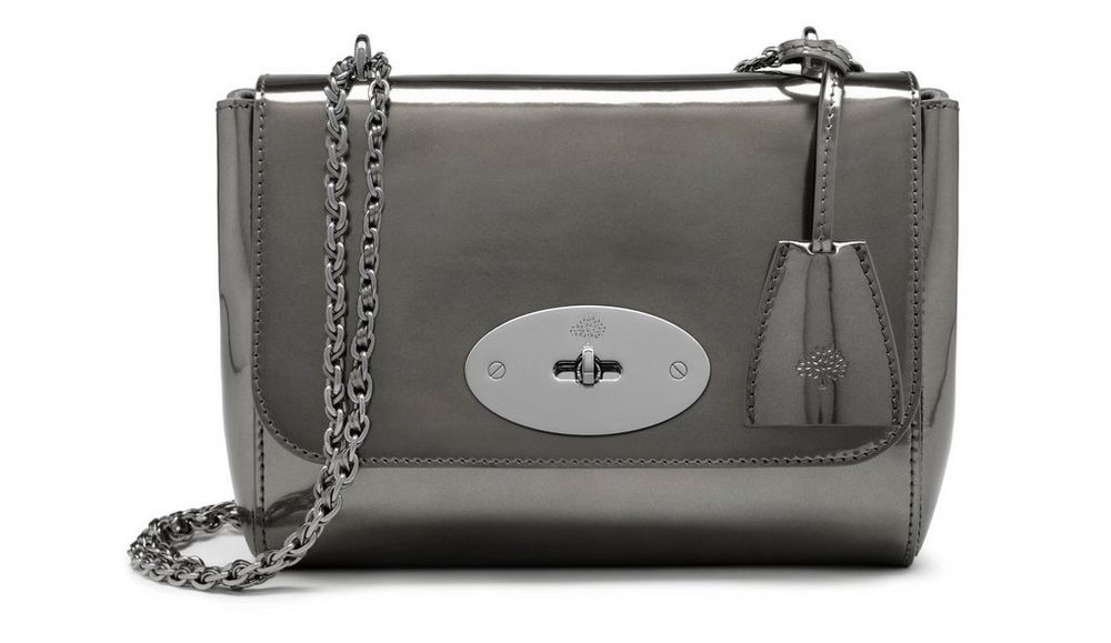 Mulberry Mirror Metallic Leather Lily in Silver