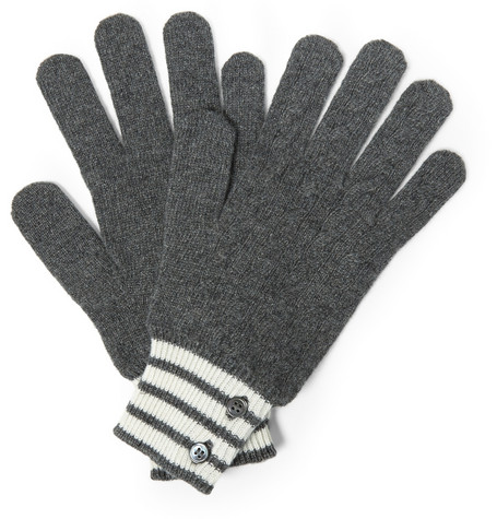 Thom Browne Cable Knit Cashmere Gloves