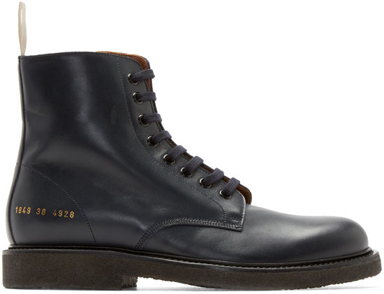 common projects navy leather combat boots