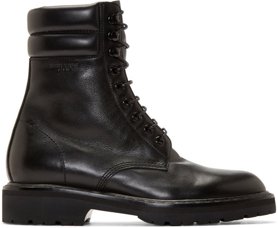 saint laurent black leather high combat boots