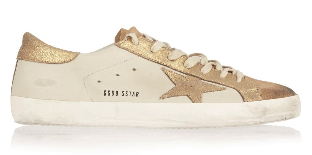 Golden Goose Deluxe Brand Gold Super Star Low Top Leather And Suede Sneakers