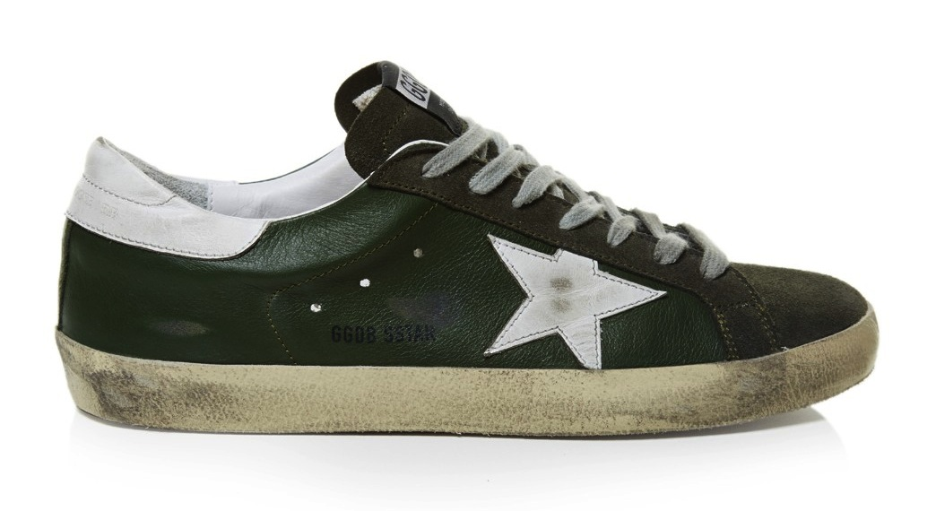 Golden Goose Deluxe Brand Green Super Star Low Top Leather Sneakers