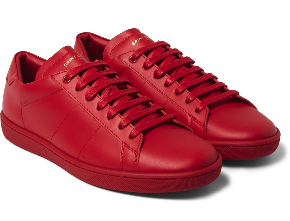 Saint Laurent Red Court Classic Leather Sneakers
