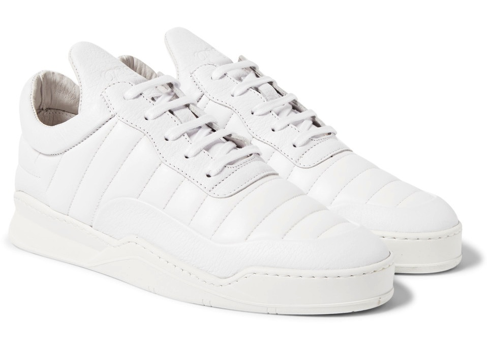 Filling Pieces White Low Top Fuse Quilted Leather Sneakers