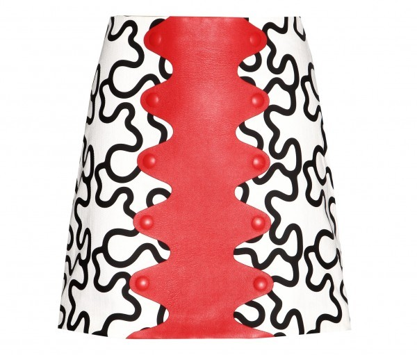 J.W.Anderson Printed cotton and leather miniskirt